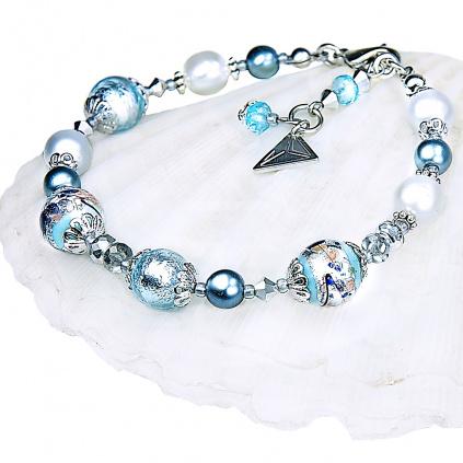 Náramek Frozen Lake s ryzím stříbrem v perlách Lampglas