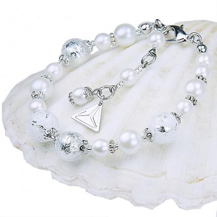 Náramek s pelami Lampglas s ryzím stříbrem White Lace