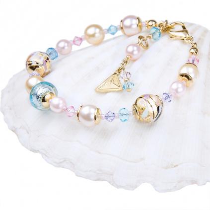 Náramek Romantic Roots s 24kt zlatem a ryzím stříbrem v perlách Lampglas