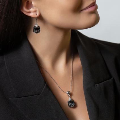 Dámský náhrdelník Dark Lady z lampových perel Lampglas