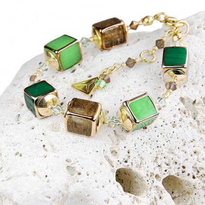 Dámský náramek Emerald shadow z lampových perel Lampglas