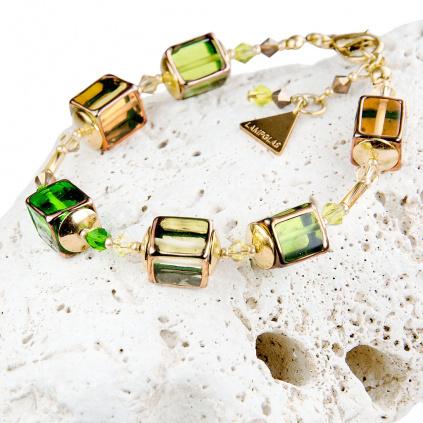 Luxusní dámský náramek Lemon grass z lampových perel Lampglas