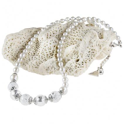 Originální náhrdelník White Romance s ryzím stříbrem v perlách Lampglas