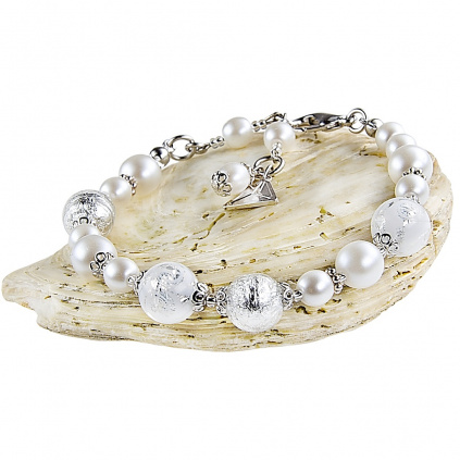 Dámský náramek White Romance s ryzím stříbrem v perlách Lampglas