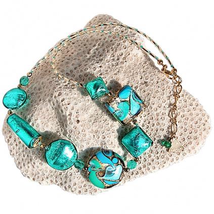 Náhrdelník Emerald Princess s 24kt zlatem a ryzím stříbrem v perlách Lampglas