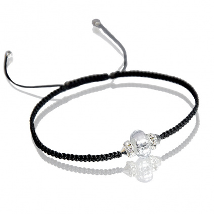 Náramek White Beauty Shamballa s ryzím stříbrem v perle Lampglas
