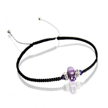 Náramek Shamballa Shining Violet s ryzím stříbrem v perle Lampglas