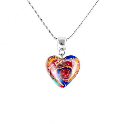 Výrazný náhrdelník Brave Heart s 24kt zlatem v perle Lampglas
