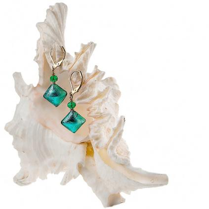 Náušnice Emerald Princess s ryzím stříbrem v perlách Lampglas