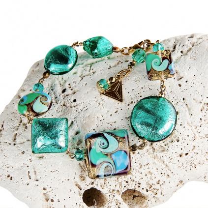 Náramek Emerald Princess s 24kt zlatem a ryzím stříbrem v perlách Lampglas
