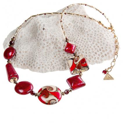 Náhrdelník Scarlet Muse s perlami s 24kt zlatem Lampglas