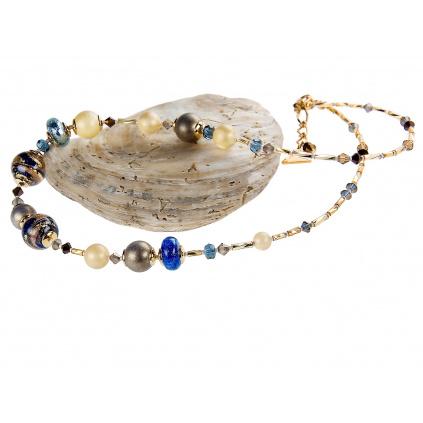 Dámský náhrdelník Egyptian Romance s 24kt zlatem a stříbrem v perlách Lampglas