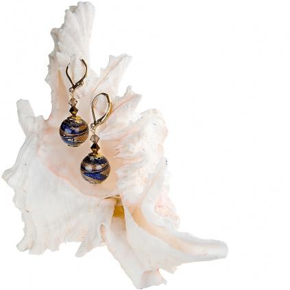 Honosné náušnice Egyptian Romance s 24kt zlatem v perlách Lampglas
