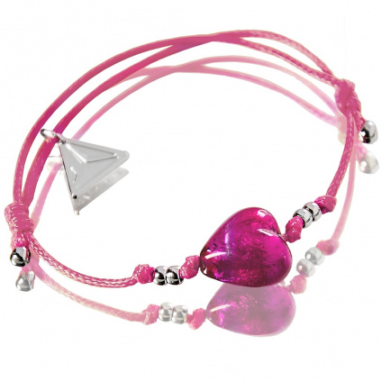 Náramek Ballerina Pink Heart s perlou Lampglas
