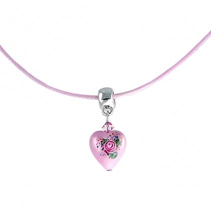 Něžný náhrdelník Baby Rose s perlou Lampglas