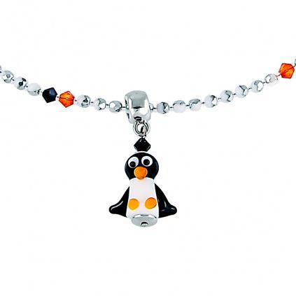 Hravý náhrdelník Penguin s perlou Lampglas