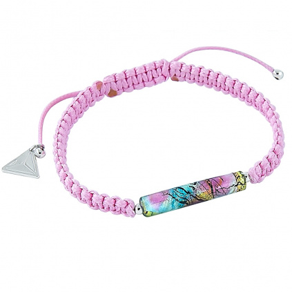 Něžný náramek Shamballa Pink Elegance s 24kt zlatem a stříbrem v perle Lampglas