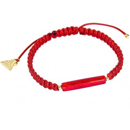 Ochraňující červený náramek Shamballa Red Line s 24kt zlatem v perle Lampglas