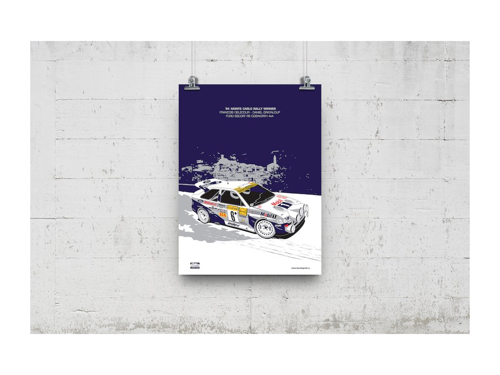 Poster Lusso Legends Ford Escort RS Cosworth Delacour Rally Monte Carlo 1994 Winner