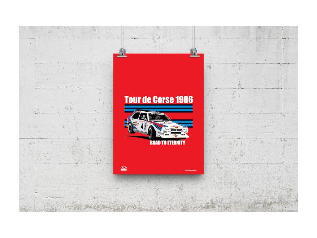 Poster Lusso Legends Lancia Delta Tour De Corse 1986