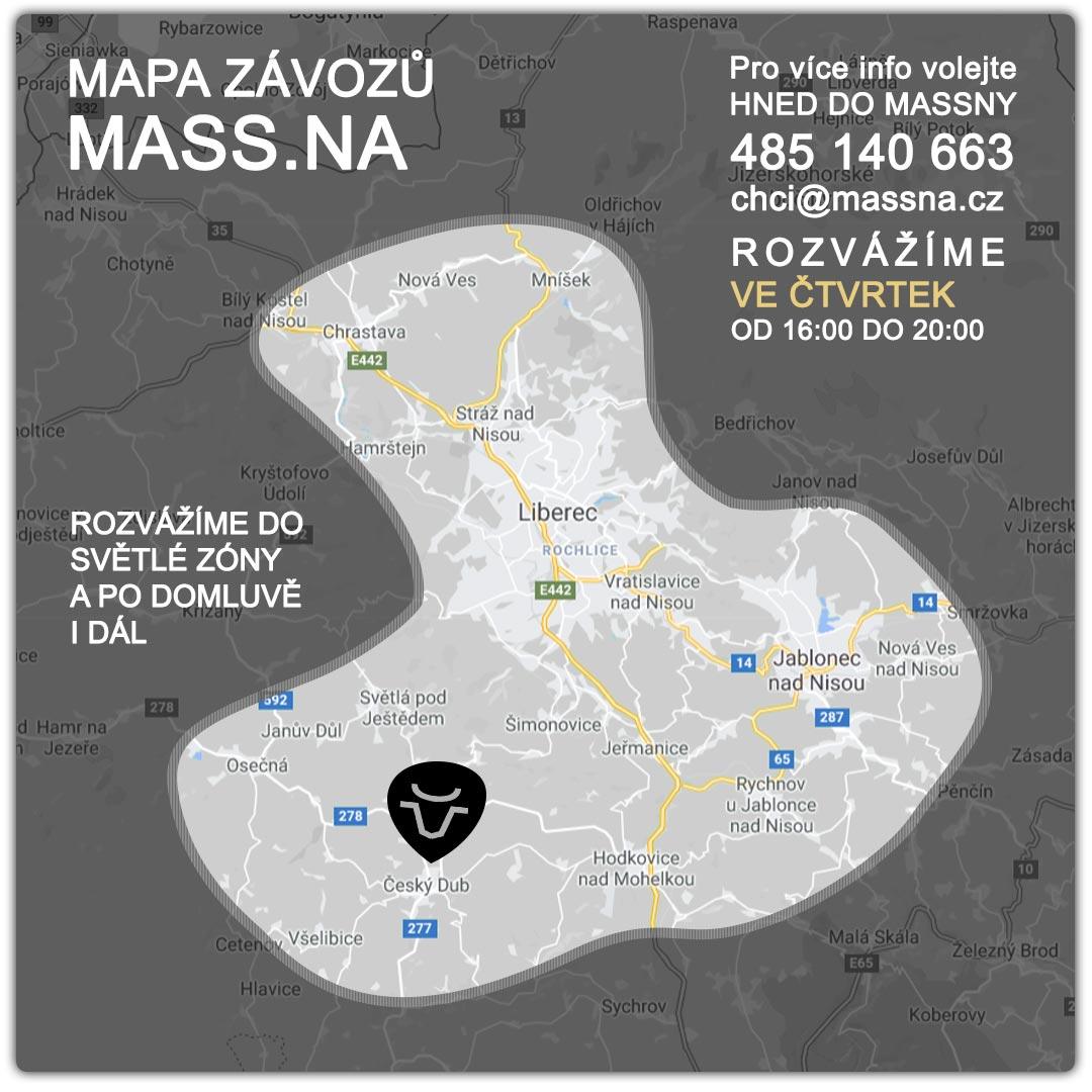 Mapa závozů Massna Český Dub a okolí
