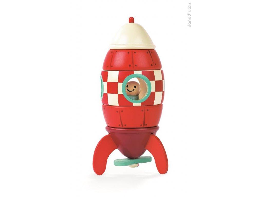 J05207 Drevena magneticka skladacka Raketa Kit Magnet Janod 16 cm od 2 rokov 9 dielov a