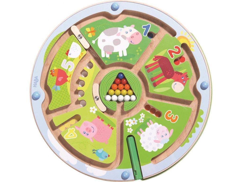 301473 Detska hra magneticky labyrint s perom Farma Cisla Haba na rozvoj motoriky od 2 rokov a