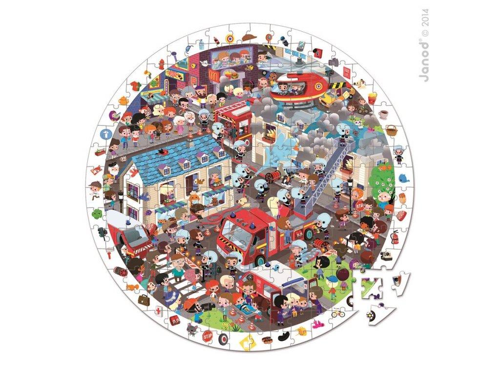 J02793 Detske okruhle puzzle s hrou Poziarnici Janod v okruhlom kufriku 208 dielov 6 9 rokov a