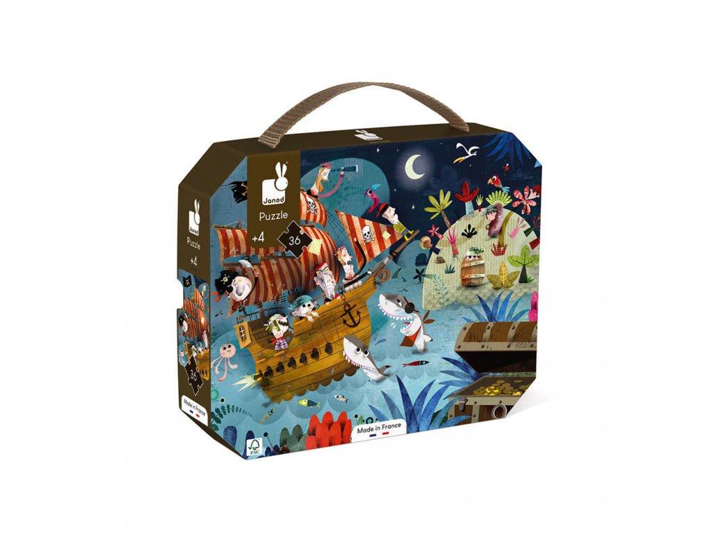 J02922 Detske puzzle Lovci pokladov Janod v okruhlom kufriku 36 dielov od 4 7 rokov 3