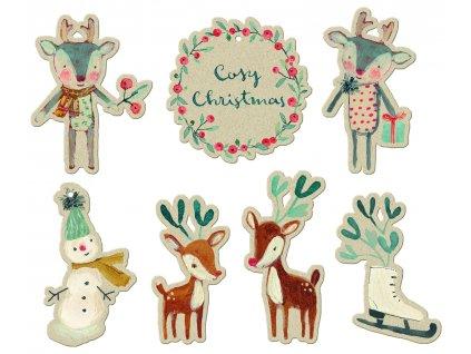 Maileg vánoční visačky na dárečky - přírodní