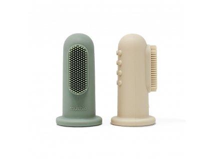 Mushie silikonova zubna kefka na prst 2ks CambridgeBlueShiftingSand