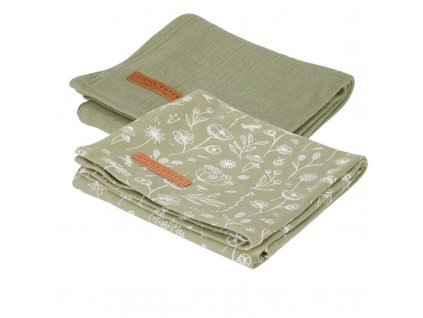 0012434 little dutch swaddles 70 x 70 wild flowers olive pure olive wild flowers 1