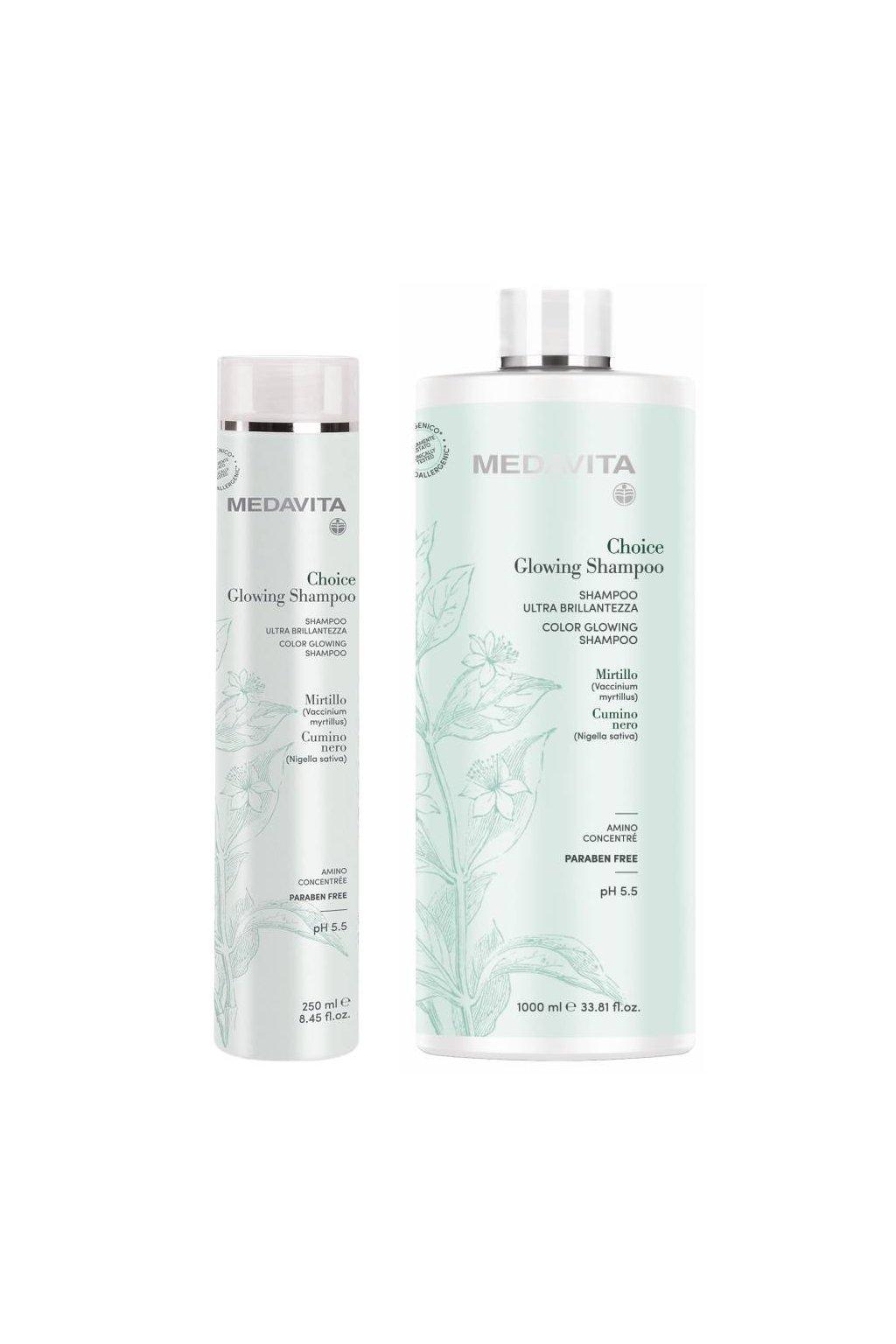 Medavita CHOICE Color Glowing Šampon pro zvýraznění lesku a výživu vlasů (Obsah 250 ml)