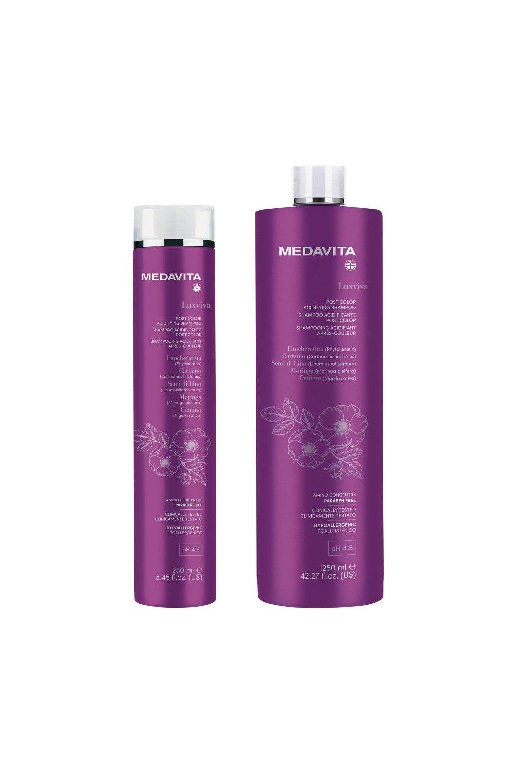 Medavita LUXVIVA Šampon Acid pro barvené vlasy s filtry UVA/UVB (Obsah 250 ml)