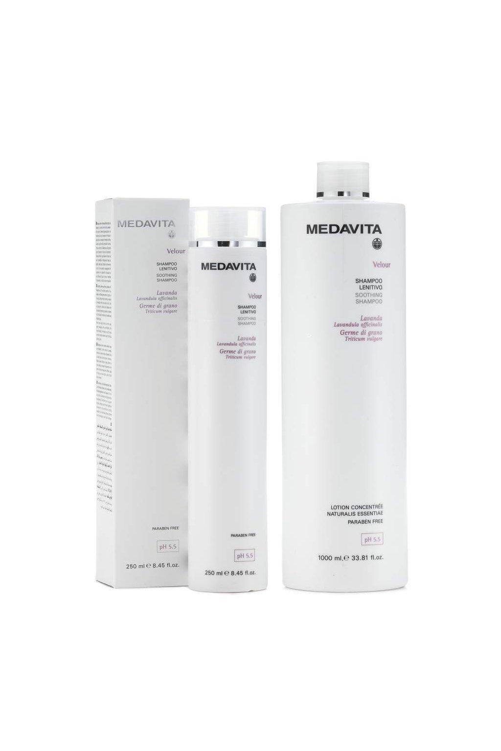 Medavita VELOUR Šampon zklidňující, pro citlivou a podrážděnou pokožku (Obsah 250 ml)
