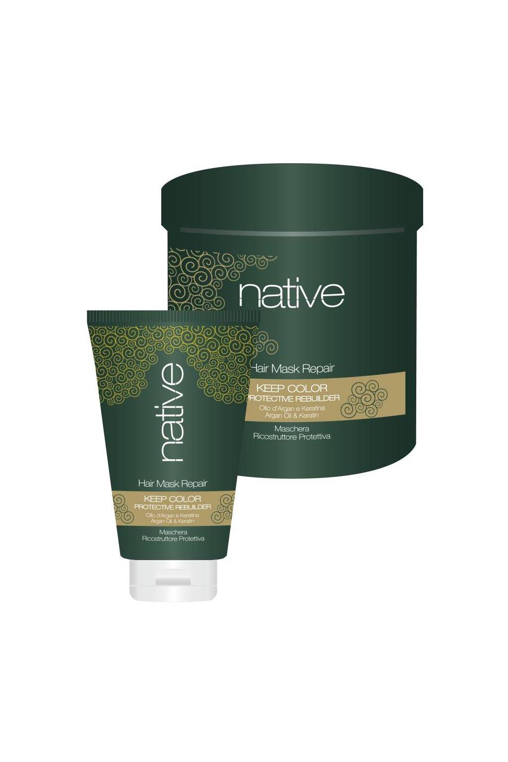 Native Maska hloubkově obnovující s arganovým olejem a keratinem (Obsah 250 ml)