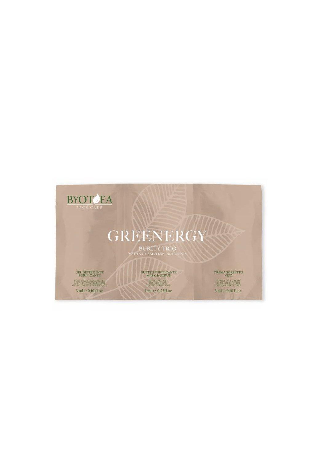 10949 byotea greenergy cistici trio tester set 3v1 cistici gel maska krem sorbet
