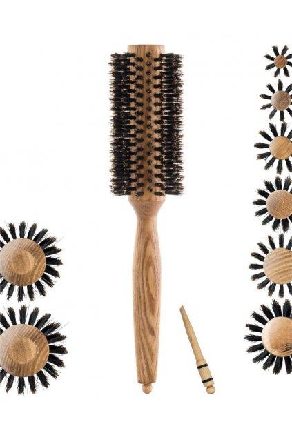 Kartáč Xanitalia jasanové dřevo, 100% kančí štětiny, styling špička