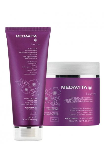 Medavita LUXVIVA Maska Acid pro barvené vlasy s filtry UVA/UVB (Obsah 150 ml)