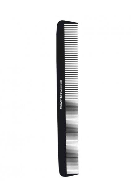 Hřeben Medavita KOH-I-NOOR Carbon klasický dlouhý rovný řídký/hustý 22,5cm