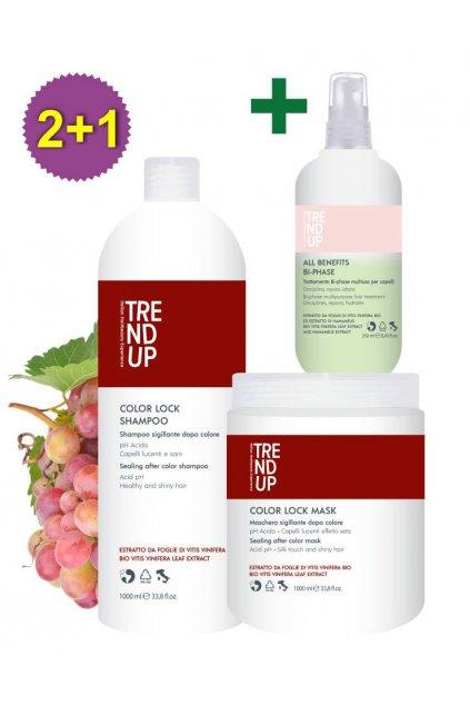 Akce 2+1 Trend up PRO BARVENÉ VLASY Color Lock šampon 1L, maska 1L +ZDARMA Bi-Phase 250ml