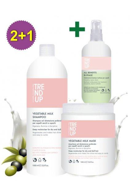 Akce 2+1 Trend up PRO REVITALIZACI VLASŮ Milk šampon 1L, maska 1L +ZDARMA Bi-Phase 250ml