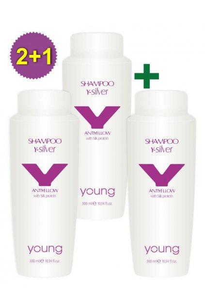 Akce 2+1 Young Y-SILVER Šampon pro neutralizaci žlutých tónů a oživení barvy 300ml