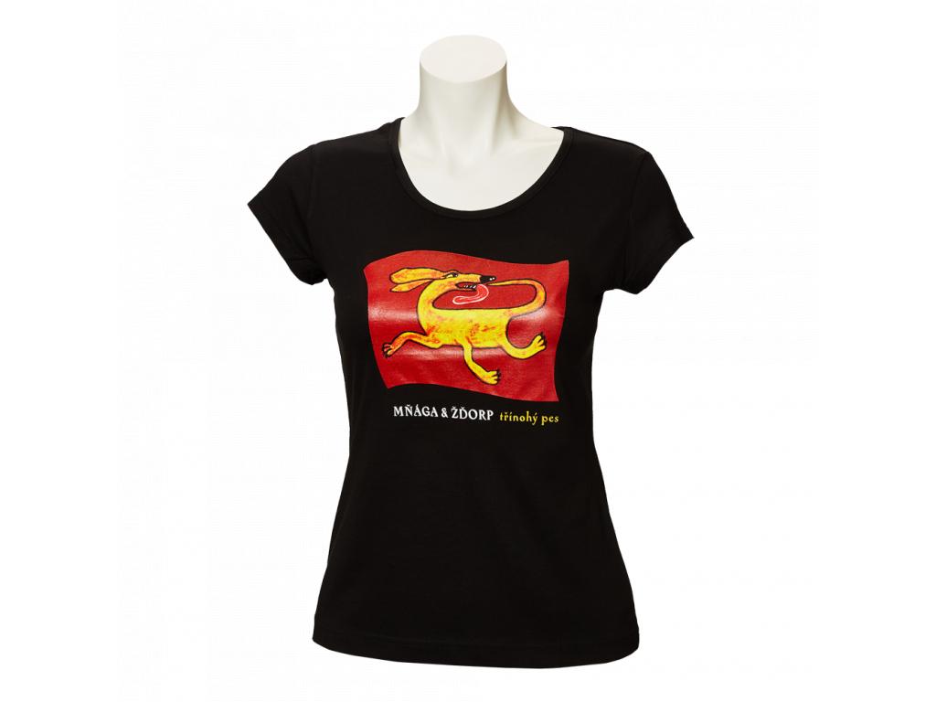 Černé tričko Třínohý pes - dámské