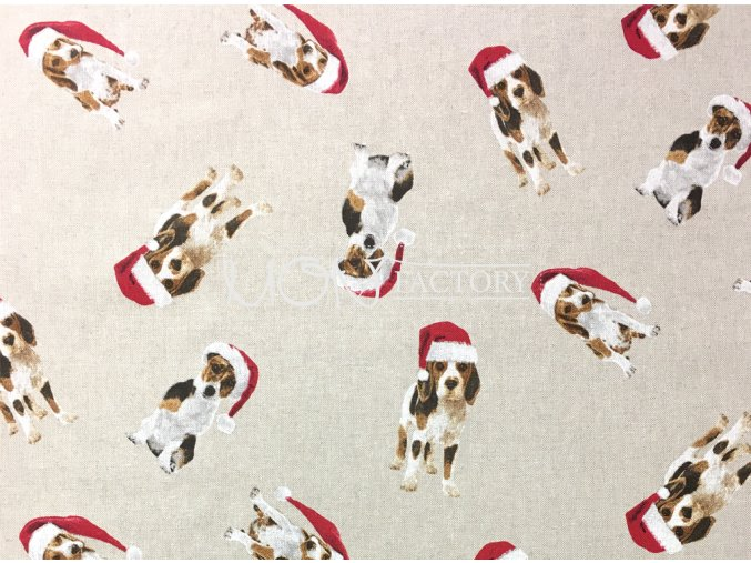 Vianoce bavlna Psik