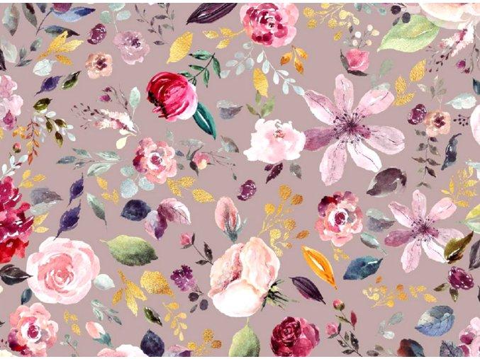BAVLNENÝ ÚPLET - Kvety 009