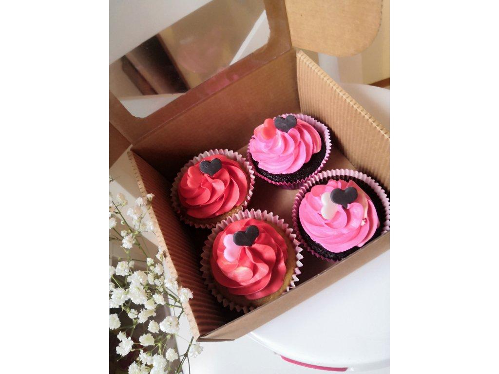 Valentýnské barevné cupcakes