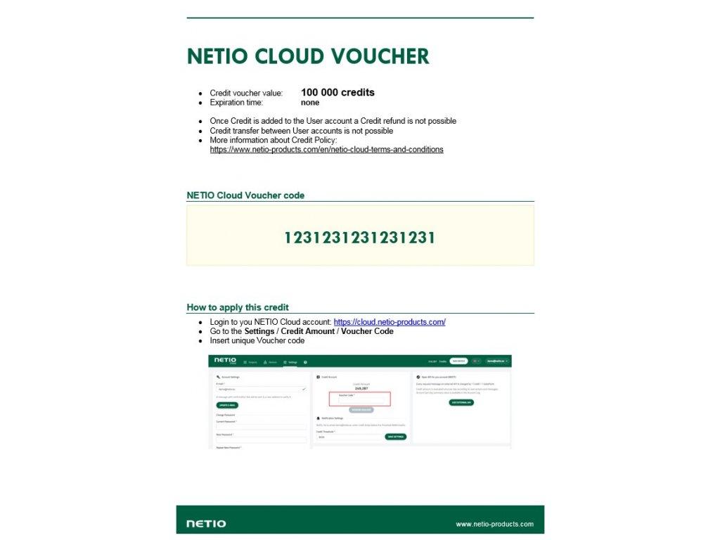 NETIO Credit Voucher example