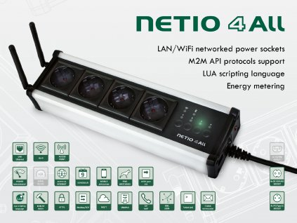 NETIO 4All is a smart socket PDU module with 4x 230V/8A outlets