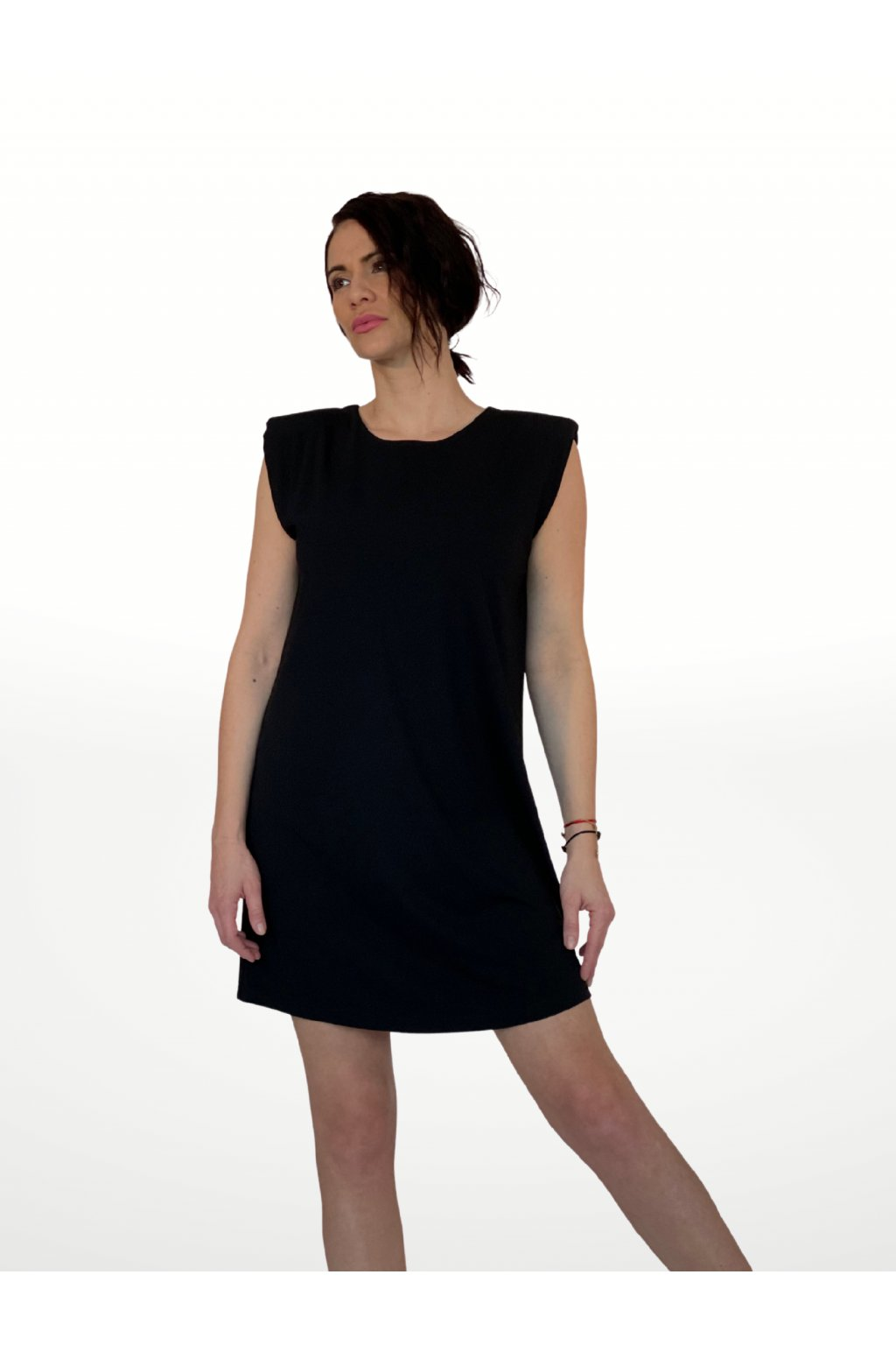 ALEX-dámském šaty s ramenními vycpávkami